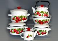 Набор эмалированной посуды Вишневый сад