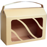 Коробка самозбірна з віконцем та ручкою / Коробка самосборная с окошком и ручкой