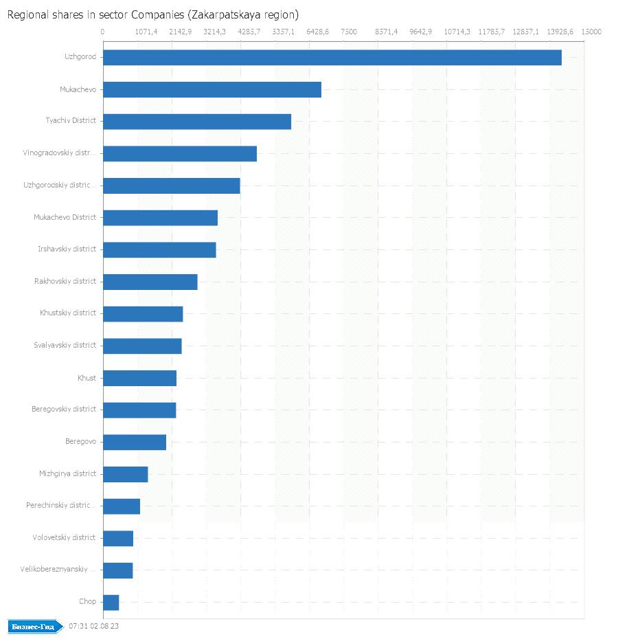 Regional shares in sector: Companies (Zakarpatskaya region)