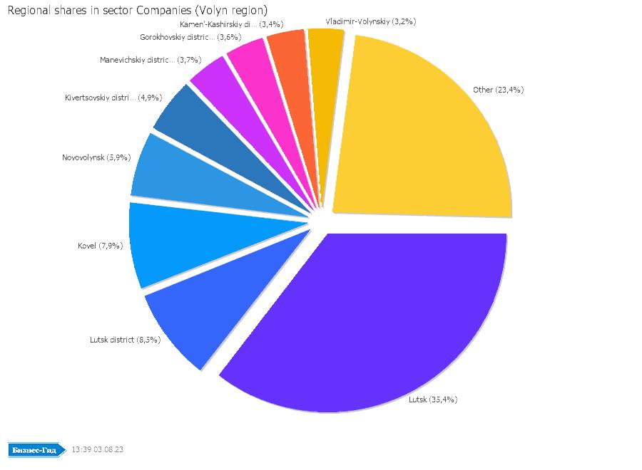 Regional shares in sector: Companies (Volyn region)