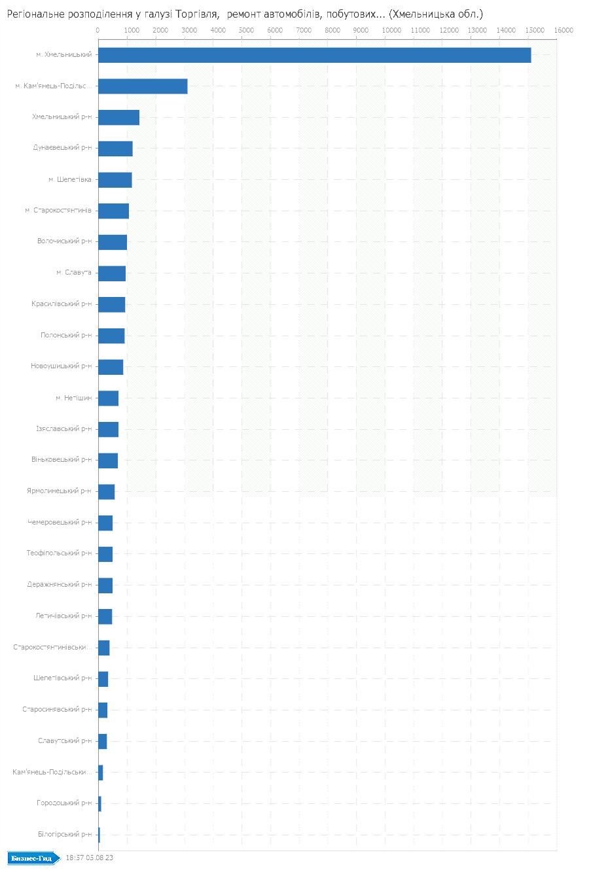 Регіональне розподілення у галузі: Торгiвля,  ремонт автомобiлiв, побутових виробiв та предметiв особистого вжитку (Хмельницька обл.)